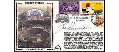 Dodger Stadium 25th Anniversary (April 14th Baseball Stamp) Autographed By Tommy Lasorda (1 Left) No Discount