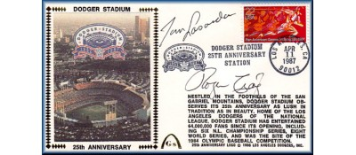 Dodger Stadium 25th Anniversary (April 11th Red Pan Am Stamp) Autographed By Tommy Lasorda/Roger Craig (Sold Out- One Left To Sell, NO Discount)