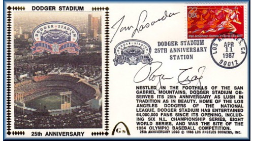 Dodger Stadium 25th Anniversary (April 11th Red Pan Am Stamp) Autographed By Tommy Lasorda/Roger Craig