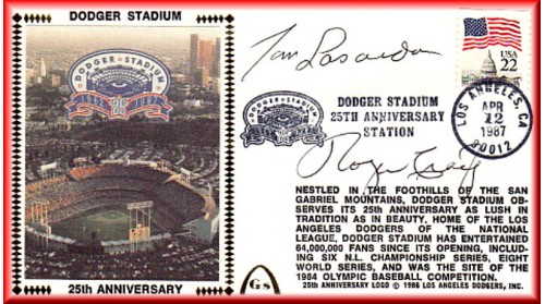 Dodger Stadium 25th Anniversary (April 12th Flag Stamp) Autographed By Tommy Lasorda & Roger Craig