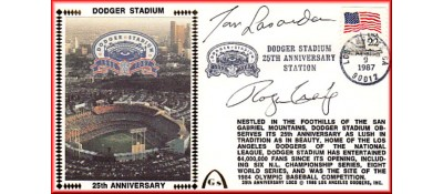 Dodger Stadium 25th Anniversary (April 11th Flag Stamp) Autographed By Tommy Lasorda & Roger Craig