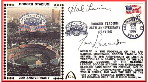 Dodger Stadium 25th Anniversary (April 13th Flag Stamp) Autographed By Tommy Lasorda & Hal Lanier