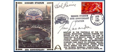 Dodger Stadium 25th Anniversary (April 14th Red Pan Am Stamp) Autographed By Tommy Lasorda & Hal Lanier