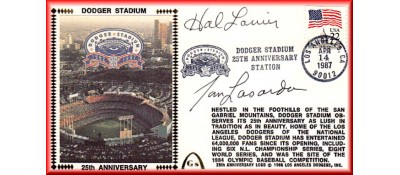 Dodger Stadium 25th Anniversary (April 15th Flag Stamp) Autographed By Tommy Lasorda & Hal Lanier