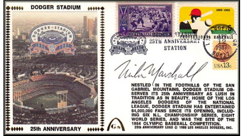 Dodger Stadium 25th Anniversary (April 12th Baseball Stamp) Autographed By Mike Marshall-SOLD OUT