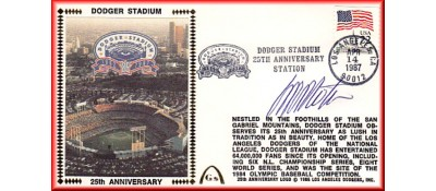 Dodger Stadium 25th Anniversary (April 14th Flag Stamp) Autographed By Manny Mota (SOLD OUT)