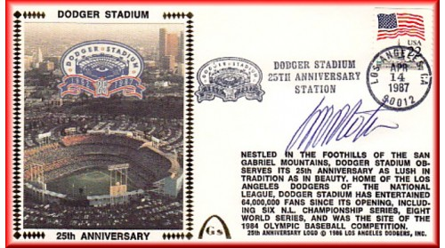 Dodger Stadium 25th Anniversary (April 14th Flag Stamp) Autographed By Manny Mota
