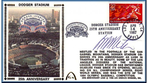 Dodger Stadium 25th Anniversary (April 14th Red Pan Am Stamp) Autographed By Manny Mota