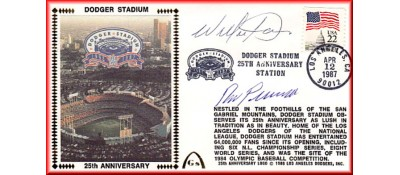 Dodger Stadium 25th Anniversary (April 12th Flag Stamp) Autographed By Willie Davis & Ron Perranoski