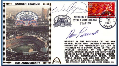 Dodger Stadium 25th Anniversary (April 12th Red Pan Am Stamp) Autographed By Willie Davis & Ron Perranoski