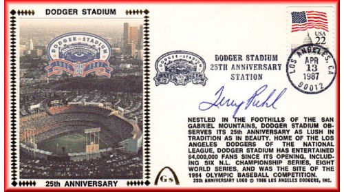 Dodger Stadium 25th Anniversary (April 13th Flag Stamp) Autographed By Terry Puhl