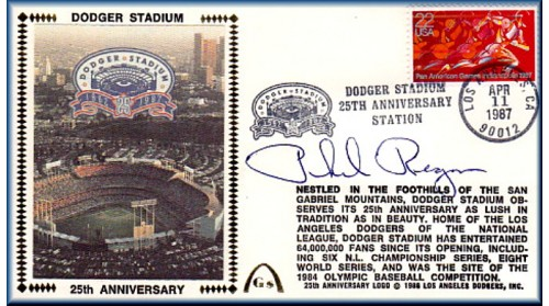Dodger Stadium 25th Anniversary (April 13th Flag Stamp) Autographed By Phil Regan - SOLD OUT - ONE Left To Sell, NO Discount)