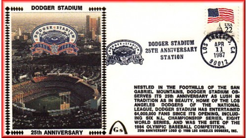 Dodger Stadium 25th Anniversary (April 11th Flag Stamp) Unautographed