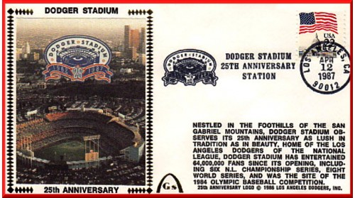 Dodger Stadium 25th Anniversary (April 12th Flag Stamp) Unautographed