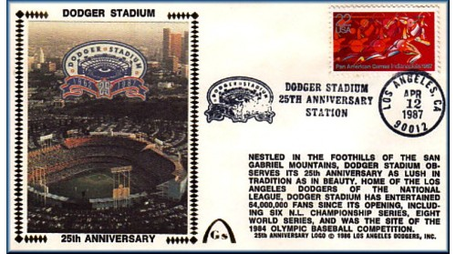Dodger Stadium 25th Anniversary (April 12th Red Pan Am Stamp) Unautographed