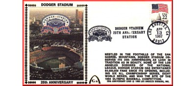 Dodger Stadium 25th Anniversary (April 13th Flag Stamp) Unautographed