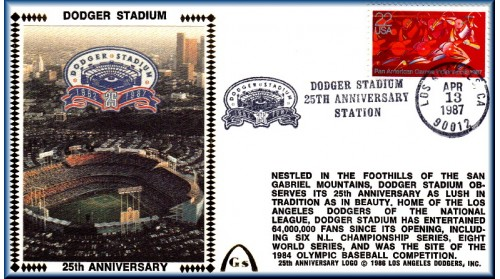 Dodger Stadium 25th Anniversary (April 13th Red Pan Am Stamp) Unautographed