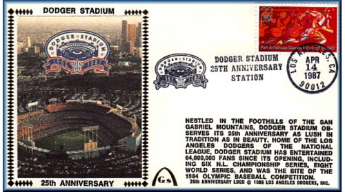 Dodger Stadium 25th Anniversary (April 14th Red Pan Am Stamp) Unautographed