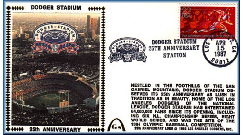 Dodger Stadium 25th Anniversary (April 15th Red Pan Am Stamp) Unautographed