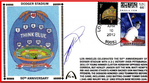 Kent, Jeff Autographed Dodger Stadium 50th Ann.#6