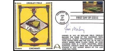 Legendary Playing Fields FDC Crosley Field  (JIM MALONEY)  Hand Cancel