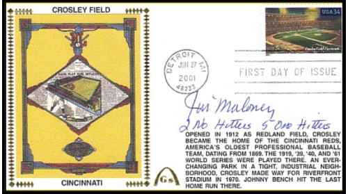 Legendary Playing Fields  FDC Crosley Field (JIM MALONEY Machine Cancel - 2 No-Hitters-6 One Hittters - No Discount