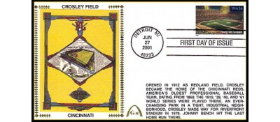 Legendary Playing Fields FDC Crosley Field  (Unautographed) - Hand Cancel