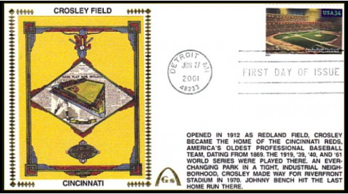 Legendary Playing Fields FDC Crosley Field (Unautographed)  Machine Cancel