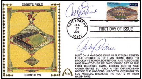 Erskine, Carl/ Podres,Johnny Autographed Combo Legendary Playing Fields  FDC (Ebbets Field) Hand Cancel
