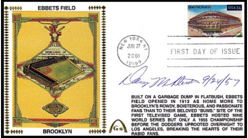McDevitt, Danny Autographed  Legendary Playing Fields  FDC (Ebbets Field) Meter Cancel