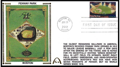 Legendary Playing Fields FDC Fenway Park (Unautographed)  Machine Cancel
