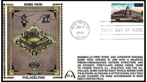 Legendary Playing Fields FDC Shibe Park (Unautographed) Machine Cancel