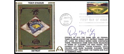 Legendary Playing Fields FDC Tiger Stadium (Dick McAuliffe) Hand Cancel