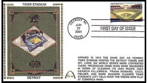 Legendary Playing Fields FDC Tiger Stadium (Unautographed) Hand Cancel