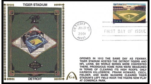 Legendary Playing Fields FDC Tiger Stadium (Unautographed) Machine Cancel