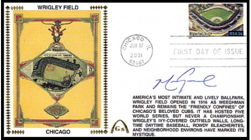 Grace, Mark Autographed Legendary Playing Field FDC (Wrigley Field) Machine Cancel