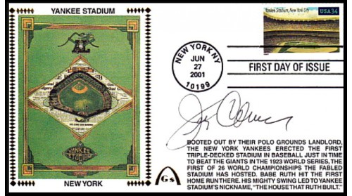 Legendary Playing Fields FDC Yankee Stadium Jerry Coleman (Hand Cancel)