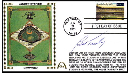 Legendary Playing Fields FDC Yankee Stadium Bob Turley (Hand Cancel)