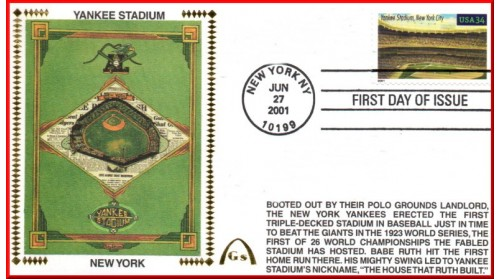 Legendary Playing Fields FDC Yankee Stadium (Unautographed) Hand Cancel