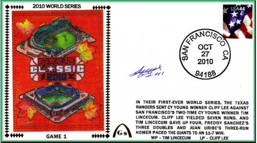 World Series 2010 San Francisco vs Texas Set Of Five Autographed By Ogondo - Gm. 1