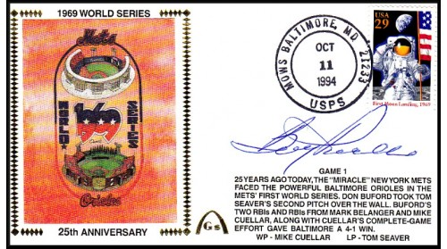 World Series 1969 Set Of Five Auto. By Boog Powell On Gm.1) Silk #1