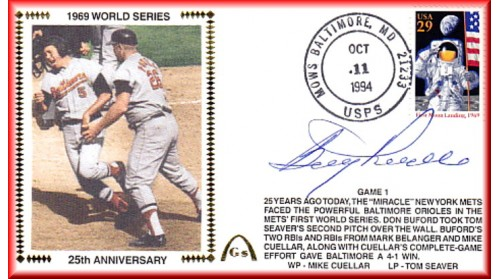 World Series 1969 Set Of Five Auto. By Boog Powell On Gm.1 (Silk #2)