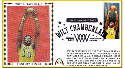 Chamberlain, Wilt FDC Lakers Single -  Black Postmark (Unautographed)