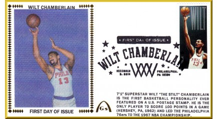 Chamberlain, Wilt FDC-Phil. Black  Single - Postmark (Unautographed)