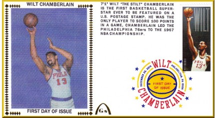 Chamberlain, Wilt FDC-Phila. Color Single - Postmark (Unautographed)